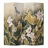 Fine Asianliving Biombo Separador de Lienzo Chino 4 Paneles Loto Vintage Anch.160 x Alt.180 cm