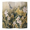 Fine Asianliving Fine Asianliving Chinese Oriental Room Divider Folding Privacy Screen 4 Panel Vintage Lotus L160xH180cm