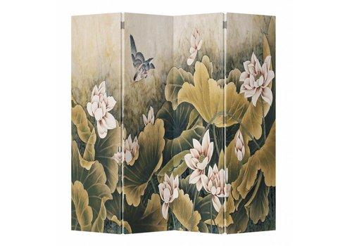 Fine Asianliving Paravent en Toile L160xH180cm 4 Panneaux Vintage Lotus
