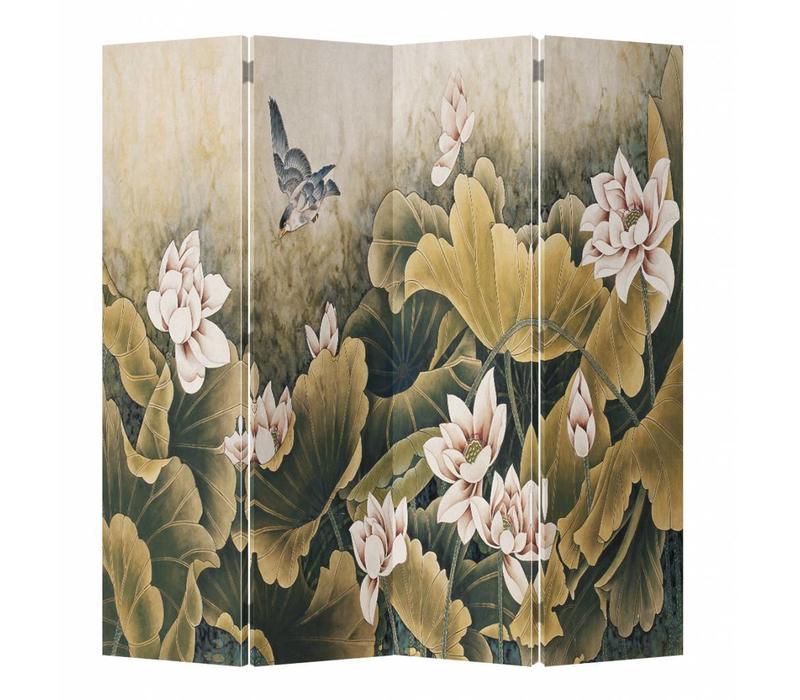 Fine Asianliving Chinees Kamerscherm Oosters Scheidingswand 4 Panelen Vintage Lotuspond L160xH180cm