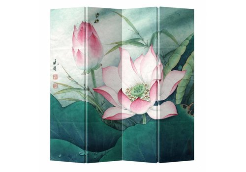 Fine Asianliving Fine Asianliving Chinees Kamerscherm Oosters Scheidingswand 4 Panelen Roze Lotus L160xH180cm