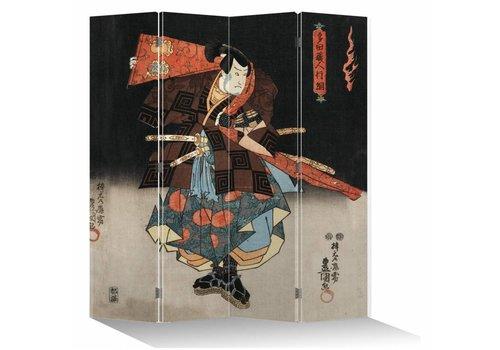 Fine Asianliving Japanese Oriental Room Divider Folding Privacy Screen 4 Panel Japanese Samurai L160xH180cm