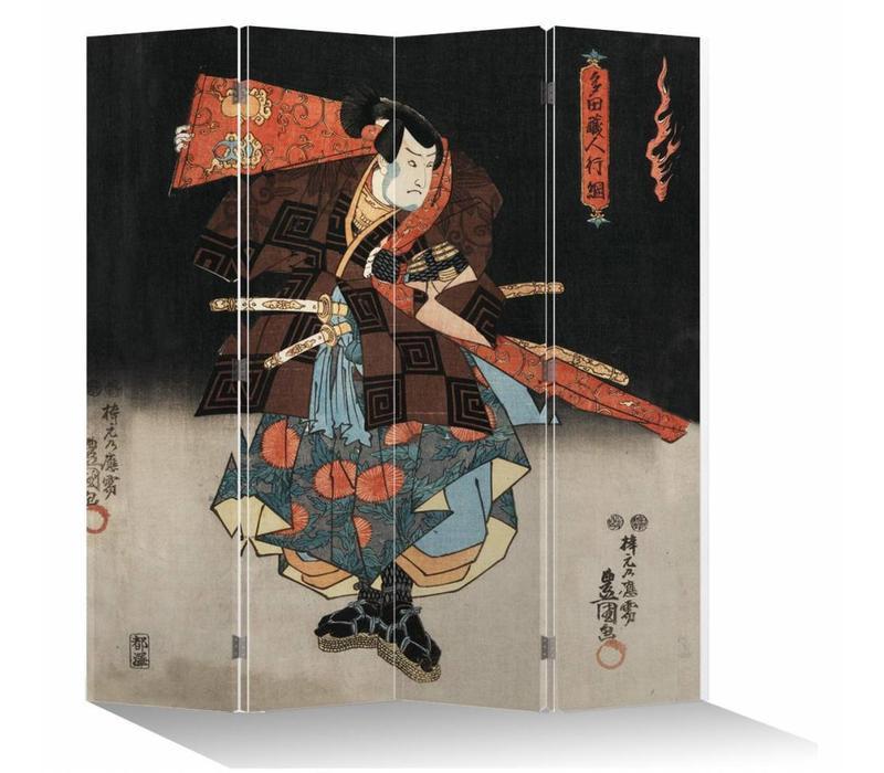 Fine Asianliving Kamerscherm Scheidingswand 4 Panelen Japanse Samurai
