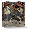 Fine Asianliving Fine Asianliving Kamerscherm Scheidingswand 4 Panelen Japanse Samurai op Paard