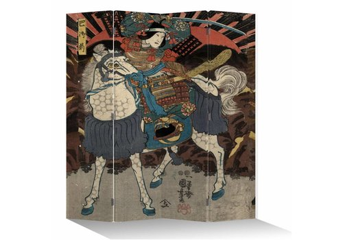 Fine Asianliving Fine Asianliving Room Divider Privacy Screen 4 Panel Japanese Samurai on Horse