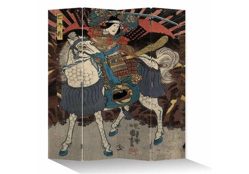 Fine Asianliving Oosters Kamerscherm 4 Panelen Japanse Samurai op Paard