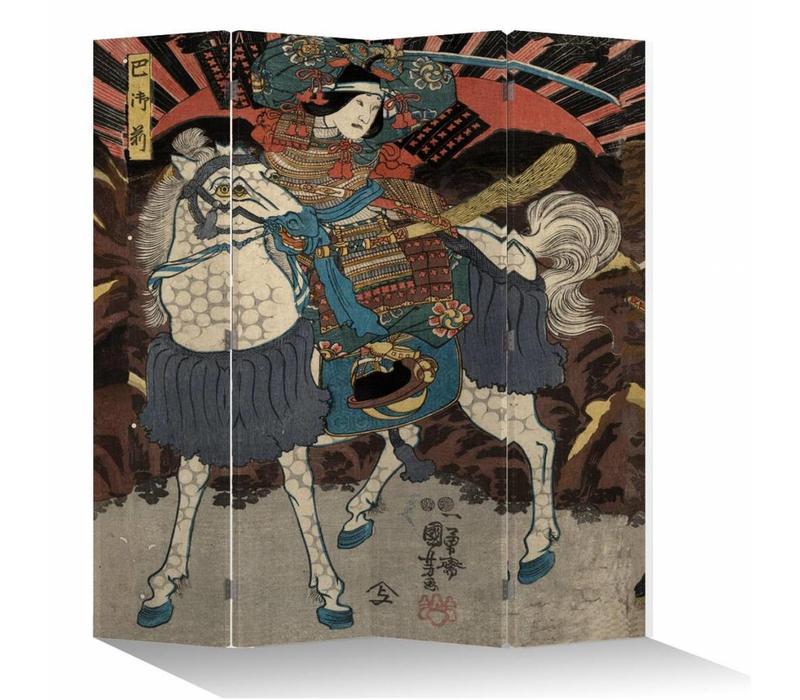 Fine Asianliving Kamerscherm Scheidingswand 4 Panelen Japanse Samurai op Paard