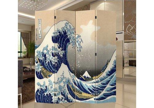 Fine Asianliving Japanese Oriental Room Divider Folding Privacy Screen 4 Panel Kanagawa Nami L160xH180cm