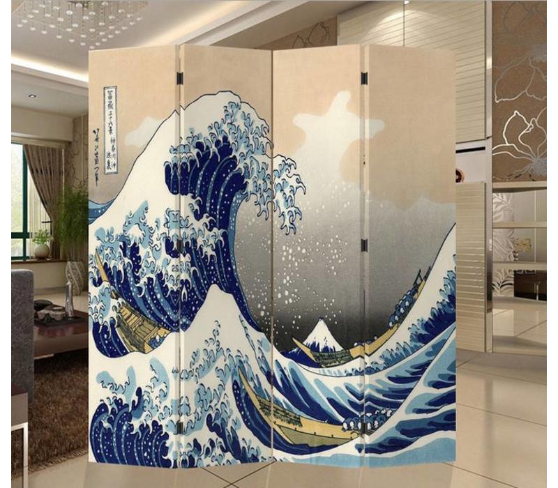 Japans Kamerscherm Oosters Scheidingswand B160xH180cm 4 Panelen Kanagawa Nami