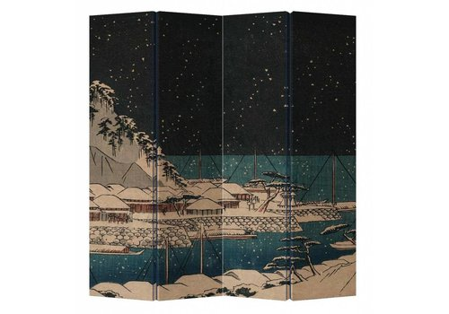 Fine Asianliving Fine Asianliving Room Divider Privacy Screen 4 Panel Japanese Harbour at Night L160xH180cm