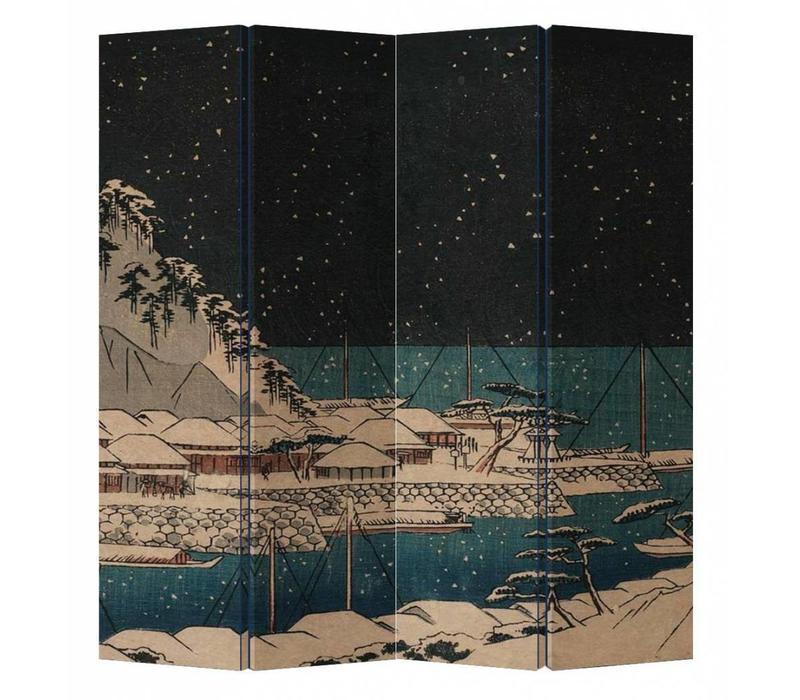 Oosters Kamerscherm 4 Panelen Japanse Haven Nacht