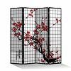 Fine Asianliving Kamerscherm 4 Panelen Kersenbloesems Zwart L160xH180cm