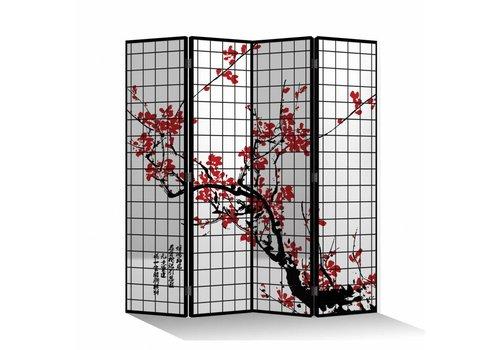 Fine Asianliving Biombo Separador de Lienzo 4 Paneles Flores de Cerezo Negro Anch.160 x Alt.180 cm
