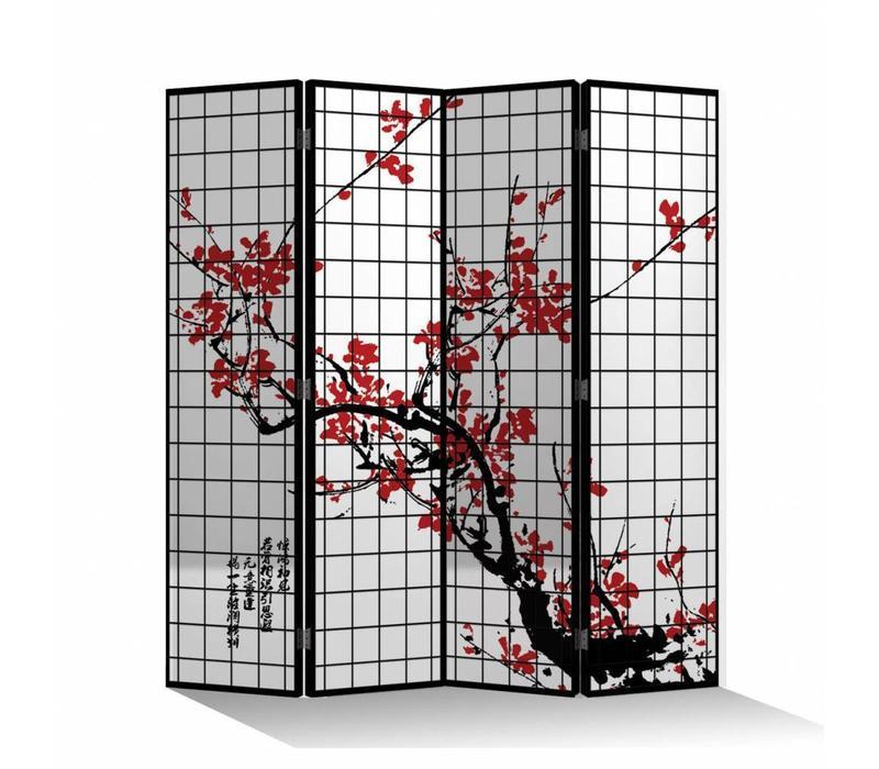 Kamerscherm B160xH180cm 4 Panelen Kersenbloesems Zwart