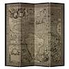 Fine Asianliving Fine Asianliving Kamerscherm Scheidingswand 4 Panelen Vintage Wereldmap