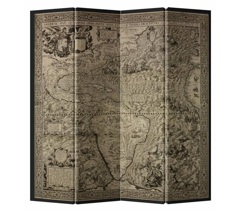 Fine Asianliving Kamerscherm Scheidingswand 4 Panelen Vintage Wereldmap