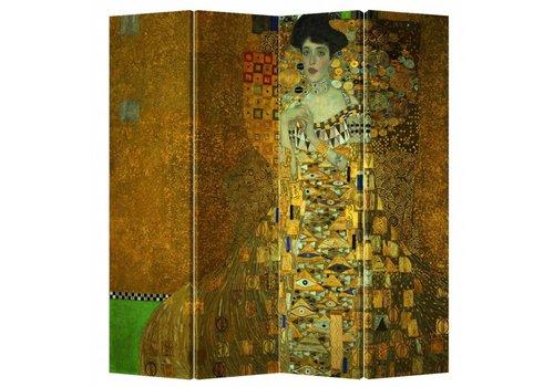 Fine Asianliving PREORDER 04/12/2020 Fine Asianliving Room Divider Privacy Screen 4 Panel Gustav Klimt - Adele Bloch-Bauer Portrait L160xH180cm