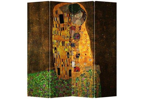 Fine Asianliving Paravent sur Toile 4 panneaux Klimt Le Baiser L160xH180cm