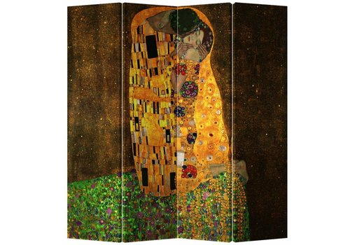 Fine Asianliving Room Divider Privacy Screen 4 Panel Der Kuss - Gustav Klimt W160xH180cm