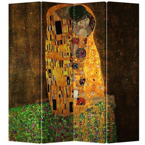 Fine Asianliving Kamerscherm Scheidingswand 4 Panelen Der Kuss - Gustav Klimt (160x180cm)