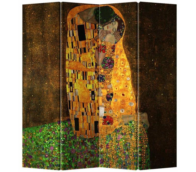 Fine Asianliving Room Divider Privacy Screen 4 Panel Der Kuss - Gustav Klimt L160xH180cm