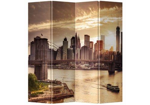 Fine Asianliving Chinees Kamerscherm 4 Panelen New York Zonsondergang Brug