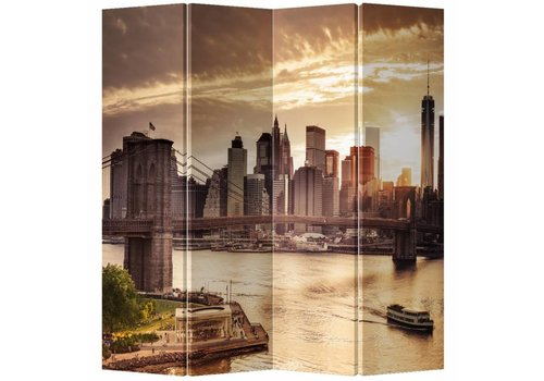 Fine Asianliving Fine Asianliving Room Divider Privacy Screen 4 Panel New York Brooklyn Bridge L160xH180cm