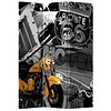 Fine Asianliving Fine Asianliving Room Divider Privacy Screen 3 Panel Retro Route 66 and Yellow Motorbike L120xH180cm