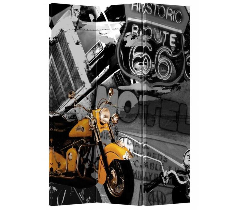 Fine Asianliving Room Divider Privacy Screen 3 Panel Retro Route 66 and Yellow Motorbike L120xH180cm