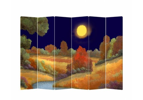 Fine Asianliving PREORDER WEEK 40 Fine Asianliving Room Divider Privacy Screen 6 Panel Meadow at Night