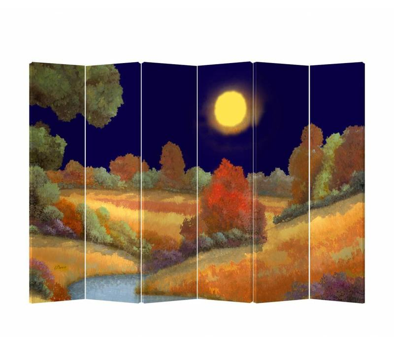 Fine Asianliving Room Divider Privacy Screen 6 Panel Meadow at Night (240x180cm)