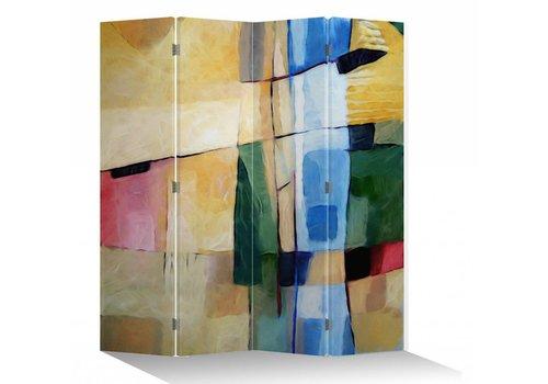 Fine Asianliving Fine Asianliving Kamerscherm Scheidingswand 4 Panelen Olieverf Stijl Abstract L160xH180cm