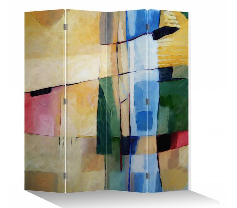 Biombo Separador de Lienzo 4 Paneles Pintura Abstracta al Óleo Anch.160 x Alt.180 cm