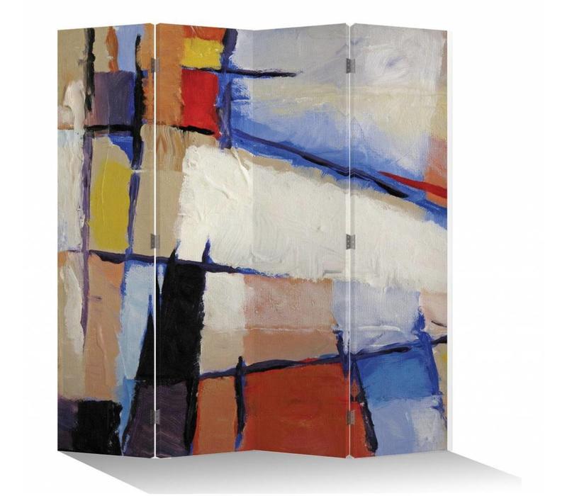 Fine Asianliving Kamerscherm Scheidingswand 4 Panelen Moderne Kunst L160xH180cm