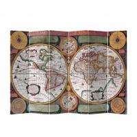 Kamerscherm Scheidingswand B240xH180cm 6 Panelen Wereldmap Retro