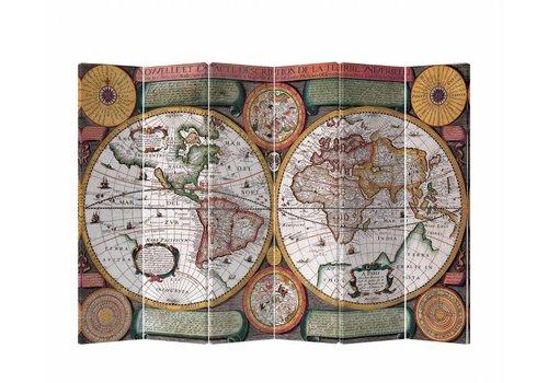 Fine Asianliving Fine Asianliving Kamerscherm Scheidingswand 6 panelen Wereldmap Retro L240xH180cm