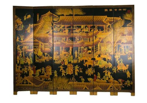 Fine Asianliving Chinese Room Divider Handpainted Golden Village W240xH182cm