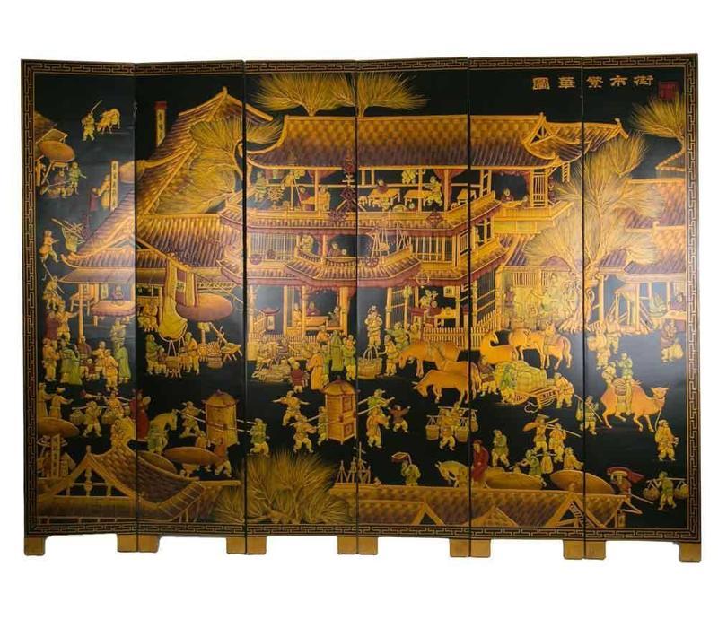 Chinees Kamerscherm 6 Panelen Handgeschilderd Dorp B240xH182cm