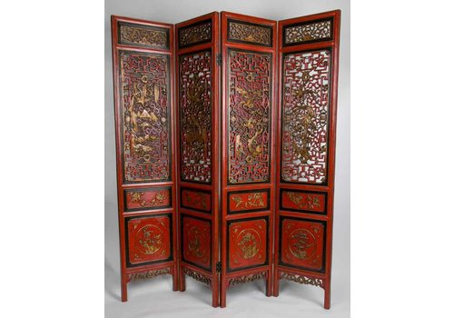 Fine Asianliving 20th Century Antique Room Divider Hand-carved 4 Panel Red-Gold