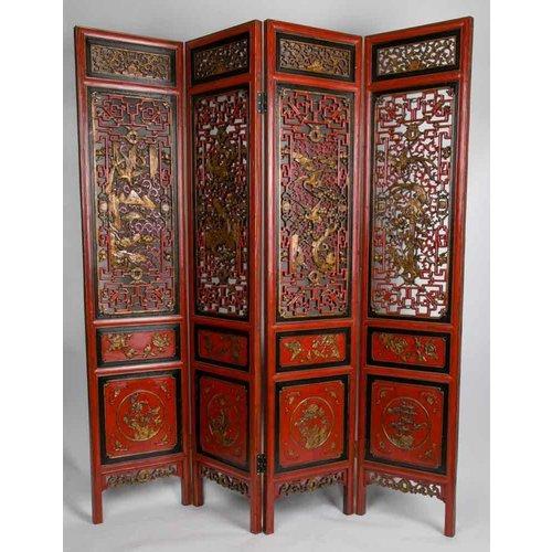 Antiek Chinees Kamerscherm Handgesneden 4 Panelen Rood-Goud