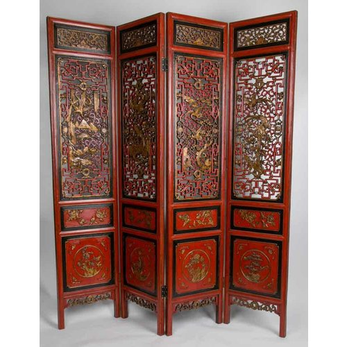 Antique Chinese Room Divider Handcarved 4 Panel Red-Gold