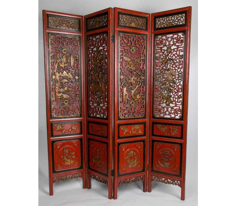 Biombo Separador de Madera Chino Antiguo Tallado a Mano Siglo 20 4 Paneles Rojo-Oro