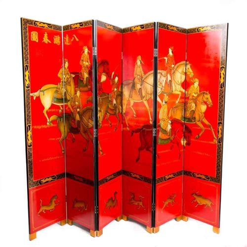 Chinese Wooden Room Divider 6 Panel Ba-Da-You