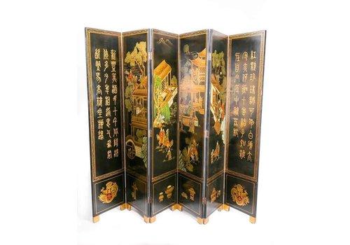 Fine Asianliving Chinees Houten Kamerscherm 6 Panelen Dorp