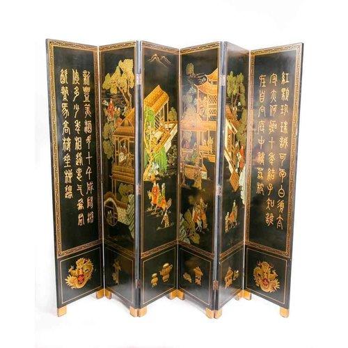 Chinees Houten Kamerscherm 6 Panelen Dorp