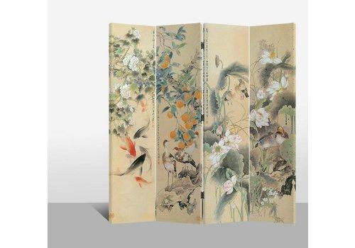 Fine Asianliving Chinees Kamerscherm 4 Panelen Bloemen, Vogels en Karpers