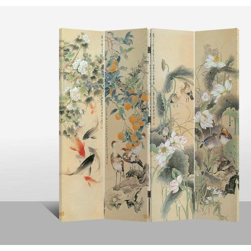 Fine Asianliving Room Divider Privacy Screen 4 Panel Oriental Paradise L160xH180cm