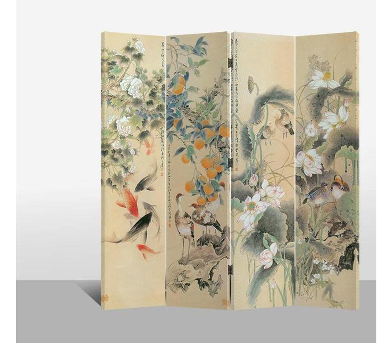 Chinees Kamerscherm 4 Panelen Bloemen, Vogels en Karpers