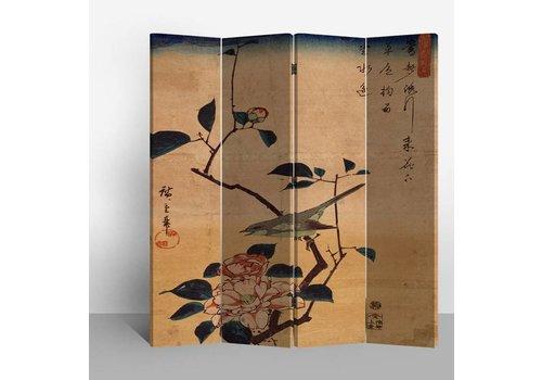 Fine Asianliving Chinees Kamerscherm 4 Panelen Vogel en Lotusbloemen Vintage