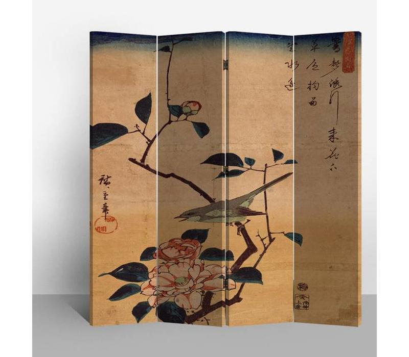 Chinesischer Raumteiler Trennwand B160xH180cm 4-teilig Vogel und Lotus Blumen Vintage
